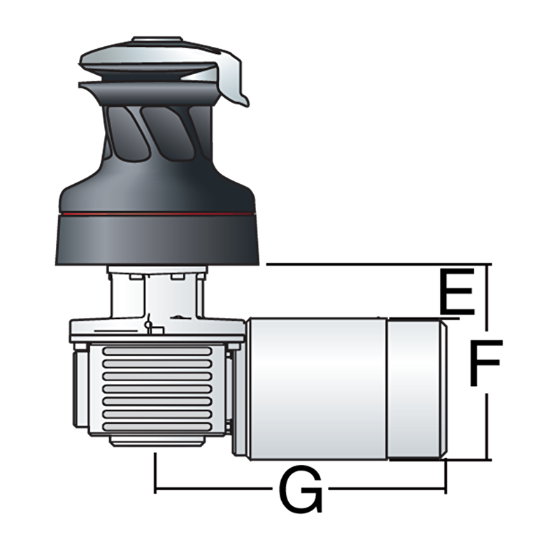 46 Electric Self-Tailing Rewind™ Radial White Winch  — Reverse Speed